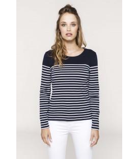 T-shirt femme marinière manche longue