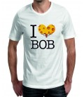 """T-shirt homme imprimé slogan """"I love Bob"""""""