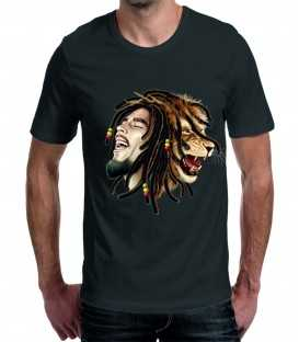 T-shirt homme Bob Marley Lion Dreadlocks
