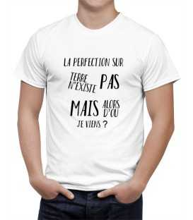 T-shirt homme la perfection n'existe pas mais d'ou je viens