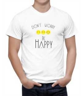 T-shirt homme Don't Worry be Happy Emoticone