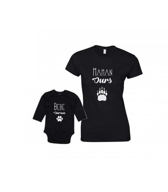 Ensemble Maman Ours Bébé Ourson T-shirt Femme Body Enfant