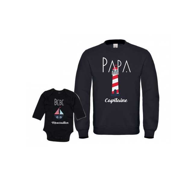Ensemble Sweat Homme Papa Capitaine Bébé Moussaillon