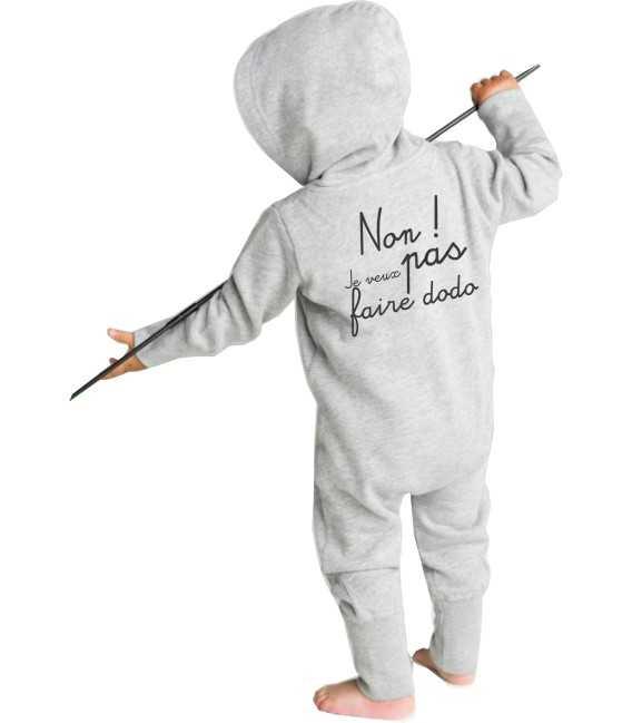 Pyjama bébé enfant Non je veux pas faire dodo