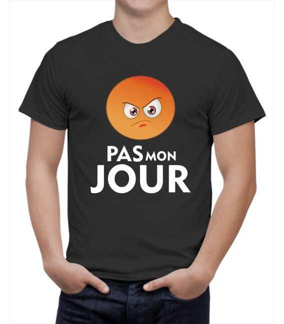 T-shirt homme Pas mon jour Emoticone Faché