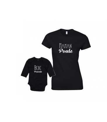 Ensemble Maman Poule Bébé Poussin T-shirt Femme Body Enfant