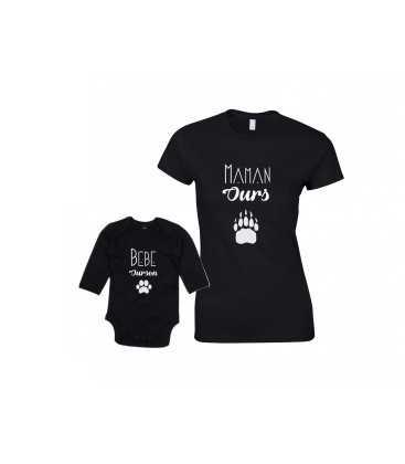 Ensemble Maman Ours Bébé Ourson T-shirt Femme Body Enfant