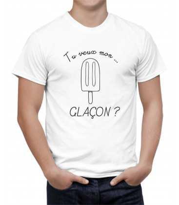 T-shirt homme Glace à l'eau Tu veux mon glaçon ?